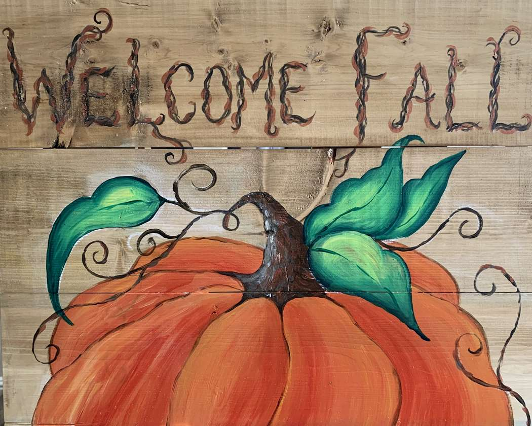 Welcome Fall on Wood