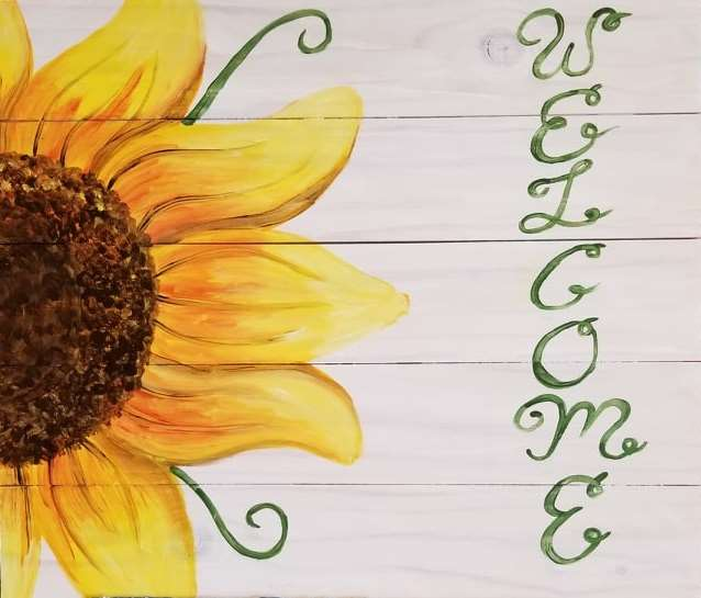 Welcome Sunflower Wood Pallet - In Studio Event - Limited Seating Available