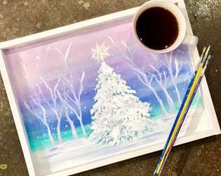 White Christmas Tea Tray