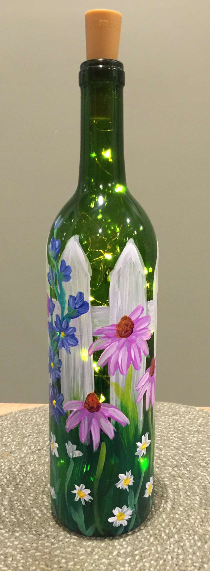 Paint a Wine Bottle and add Fairy lights