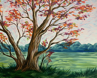 Windswept Crimson Tree