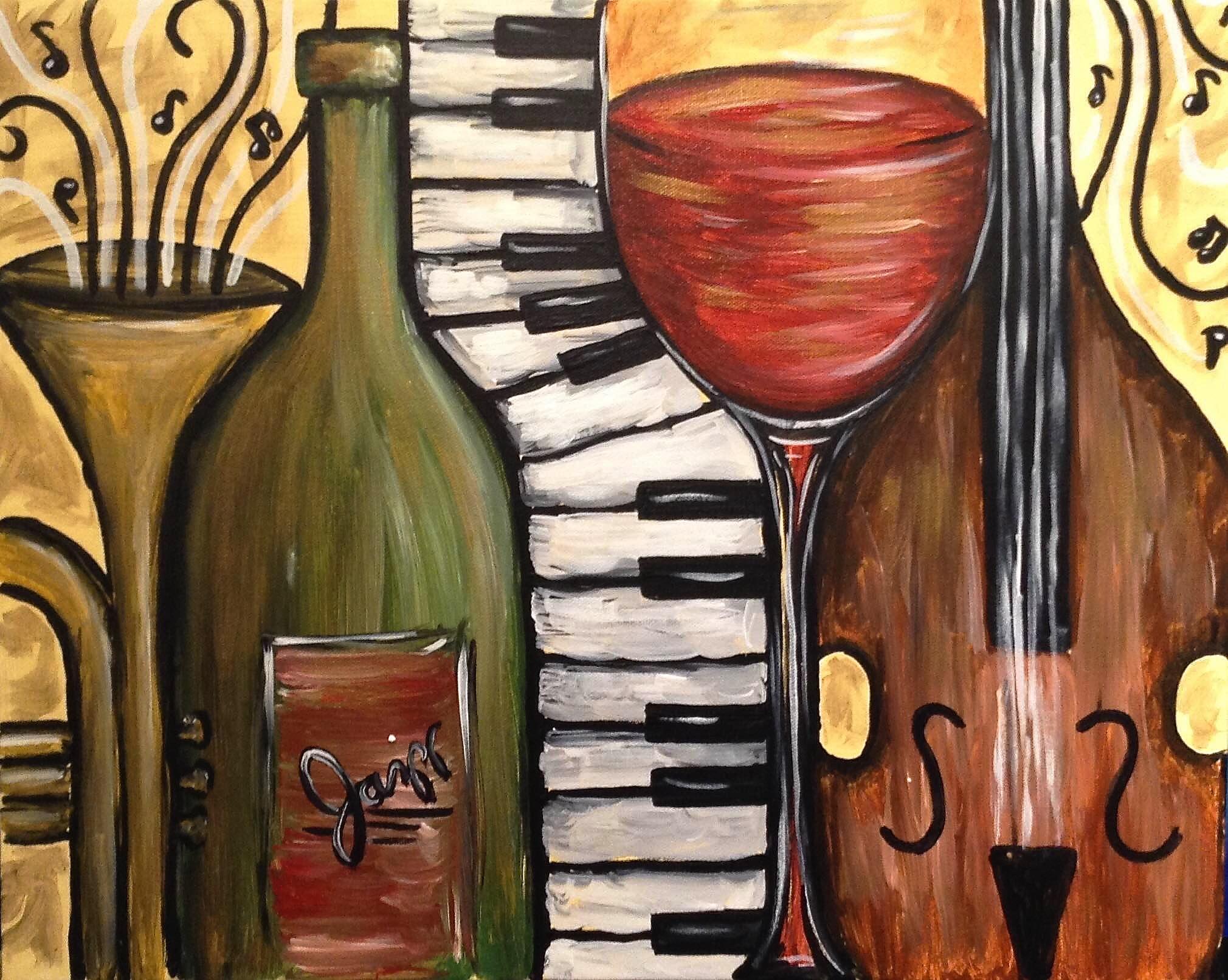 Wine and jazz pinot 39 s palette painting for Wine painting san antonio