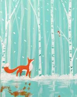 Winter fox and bird