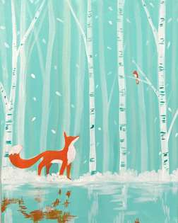Winter fox and bird