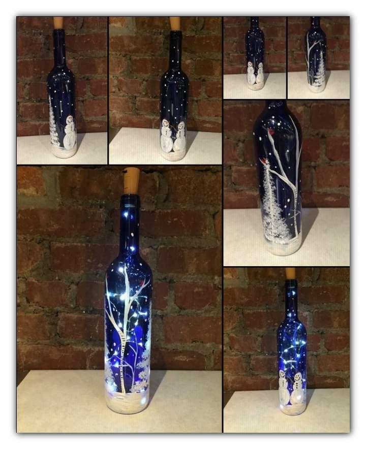 Winter Scene Wine Bottle with Lights