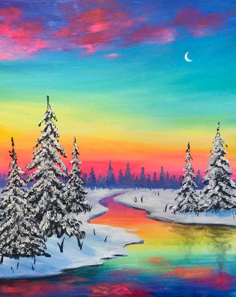 LIVE VIRTUAL CLASS + 7 DAYS ON-DEMAND: WINTER SUNSET - INCLUDES PAINT FROM HOME ART KIT