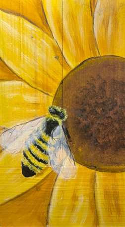 Wood Board Bee and Sunflower