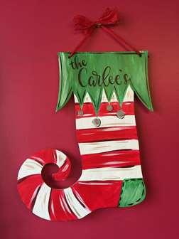 Wooden Door Hanger  Stocking  Wed Dec 06 7PM at Pinots Palette