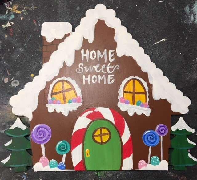 Wooden Door Hanger- Gingerbread Home