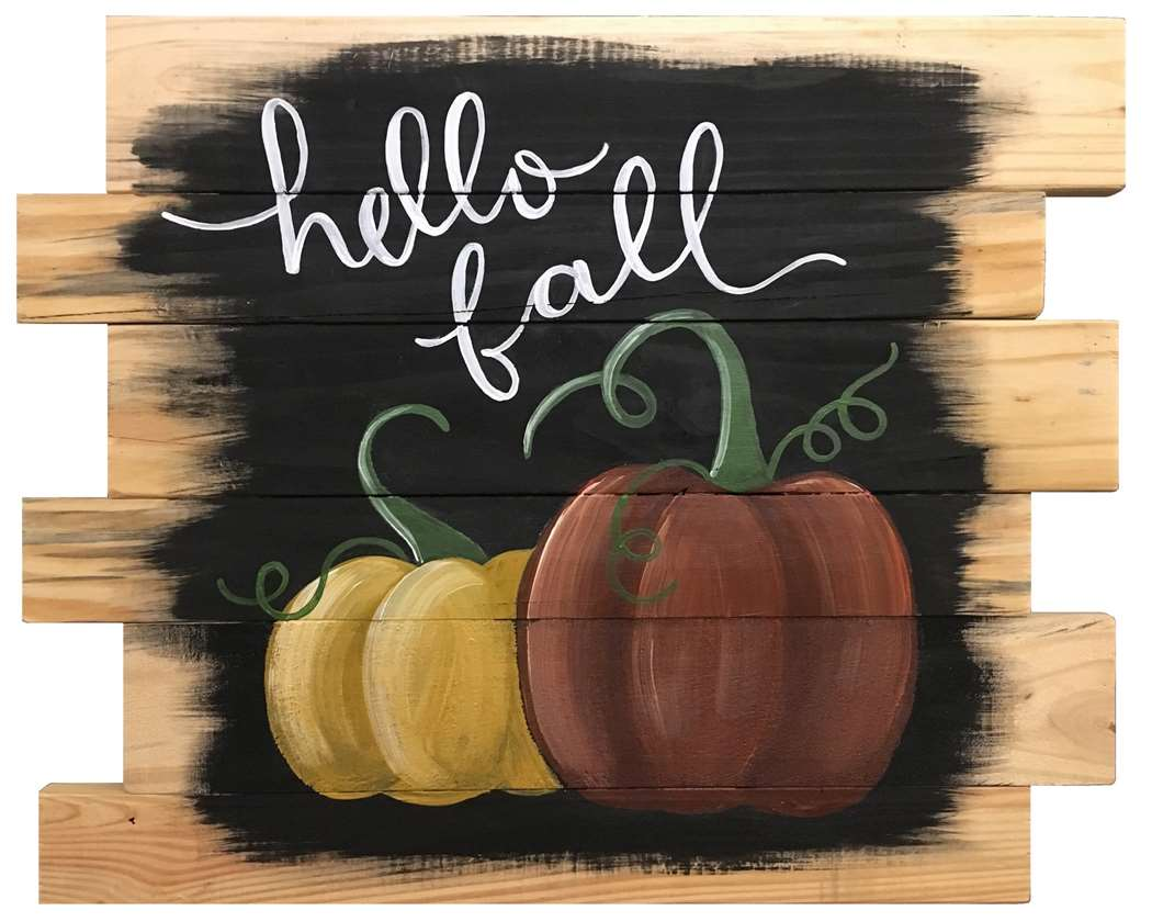 Hello Fall on a  Wood Pallet