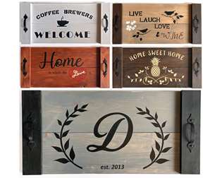 Wooden Stencil Serving Tray
