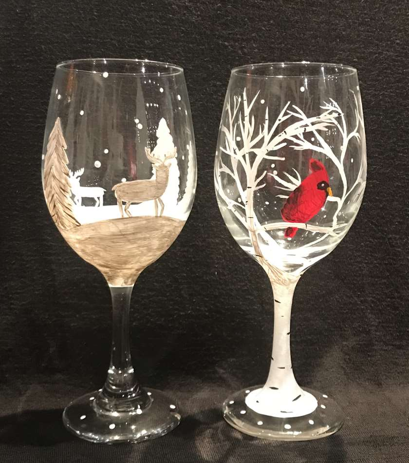 Woodsy Winter Glasses