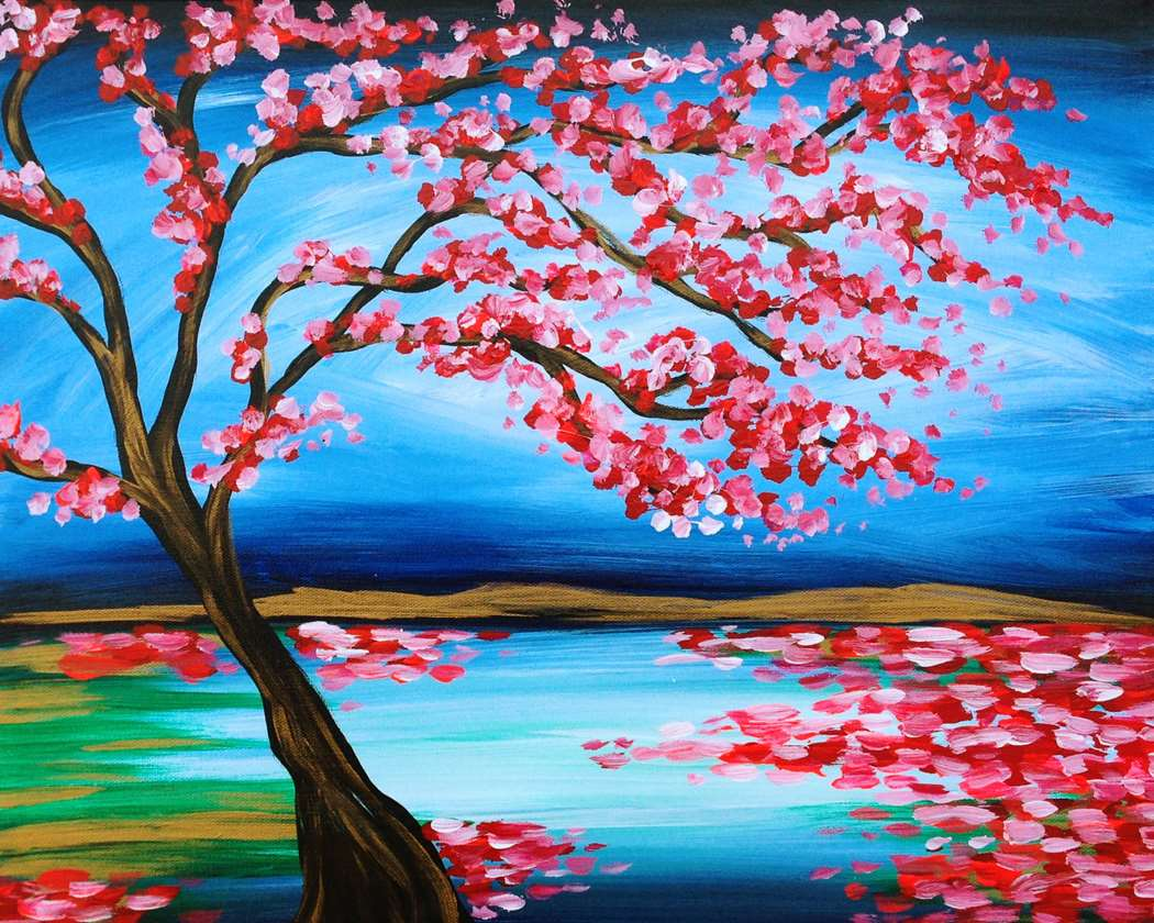 Painting parties classes in red bank paint sip events for Simple cherry blossom painting